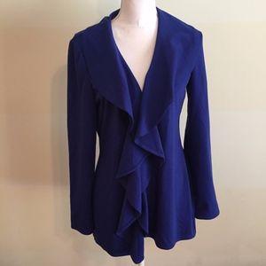 KAY UNGER blue waterfall front jacket blazer